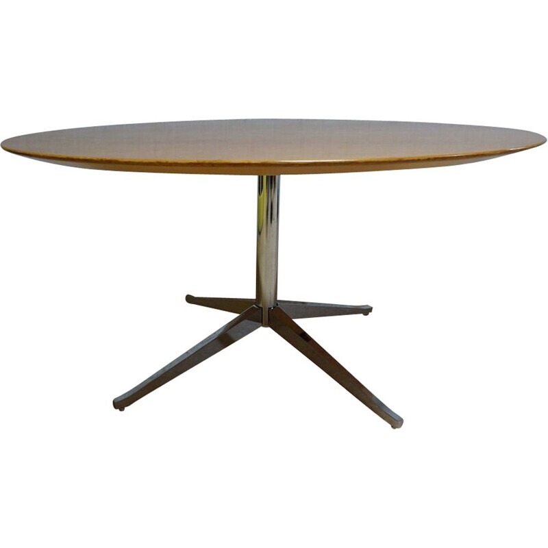 Round oak vintage dining table by Florence Knoll, USA 1960s