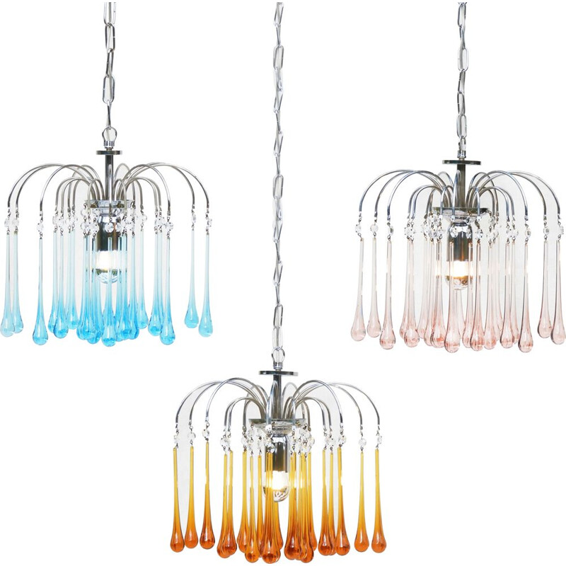 Set of 3 vintage Murano glass chandeliers by Paulo Venini, 1960s
