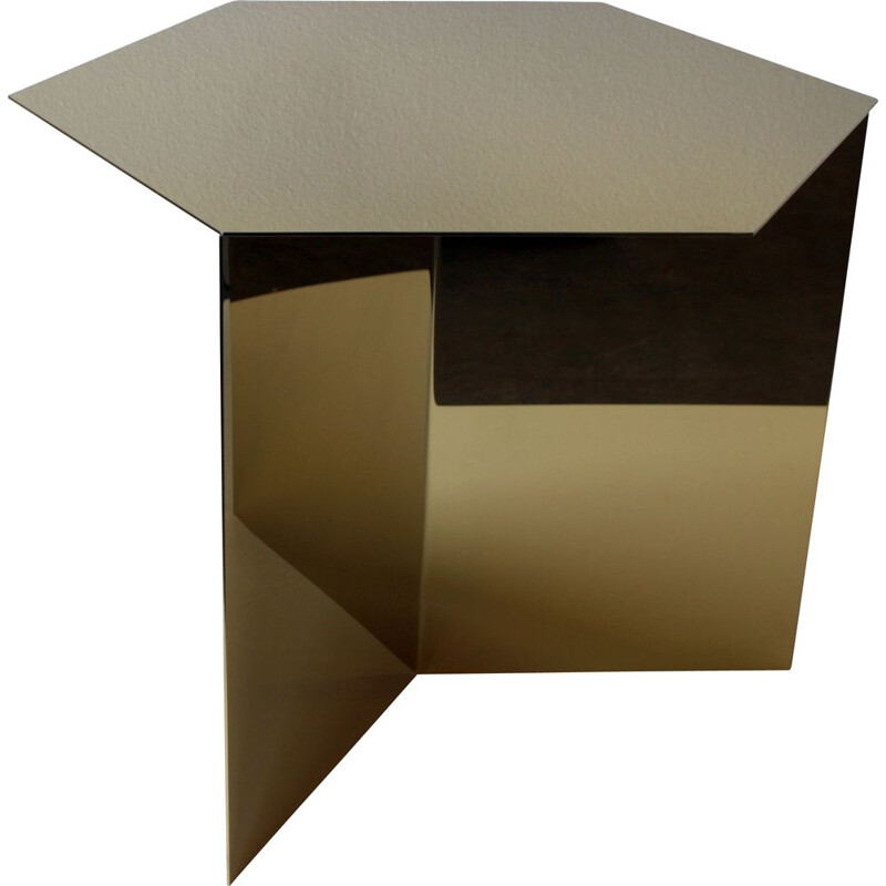 Vintage geometric side table in gilded brass for Hay
