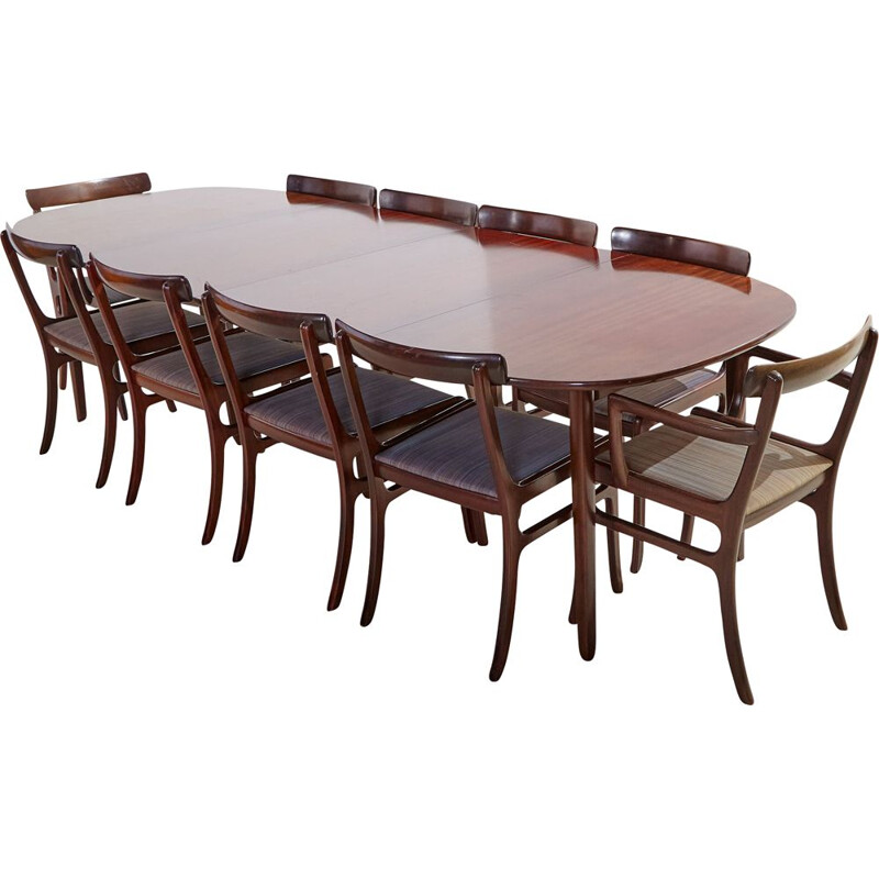 Vintage Rungstedlund mahogany dining set by Ole Wanscher for Poul Jeppesen, 1960s
