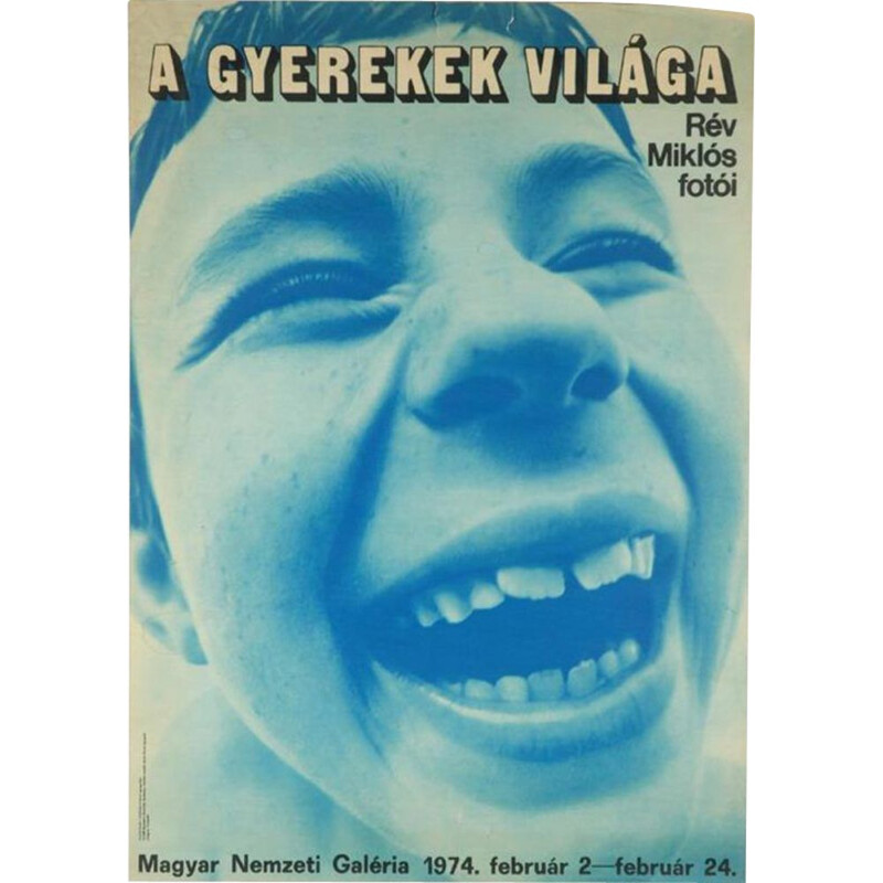 """Vintage poster of the Hungarian National Gallery """"The World of Children"""""""