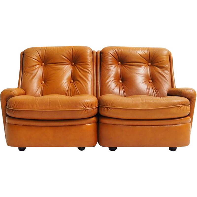 Mid century leather two-seater sofa by Michel Cadestin for Airborne, 1970s