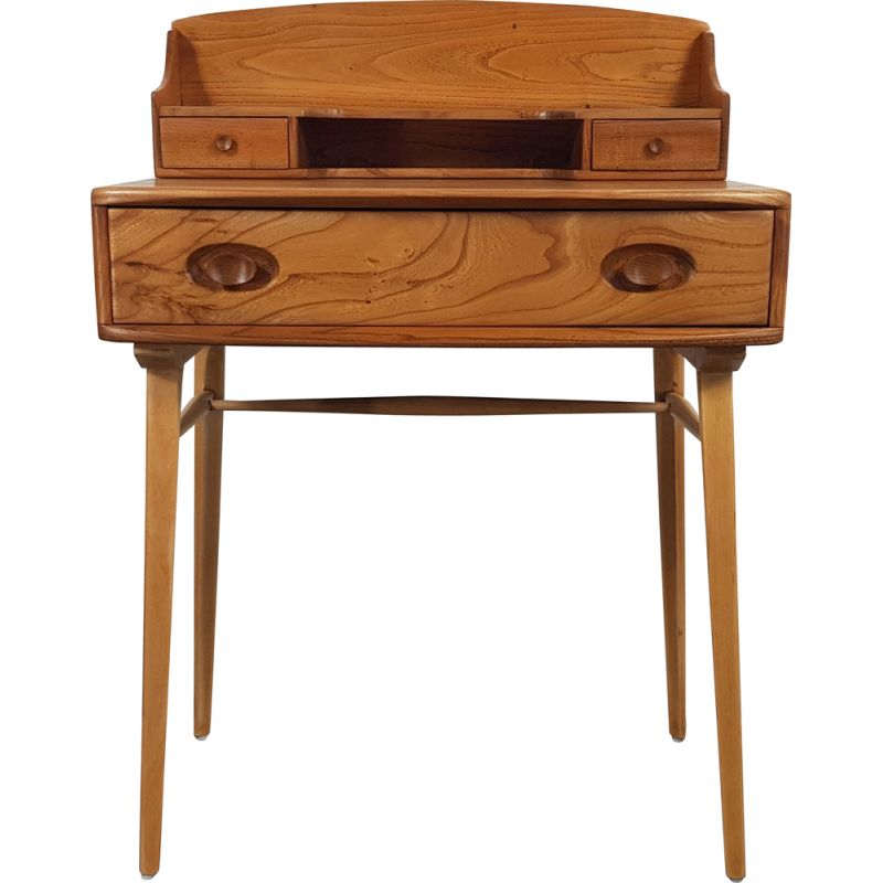 Mid century solid elmwood desk by Ercol, 1960s