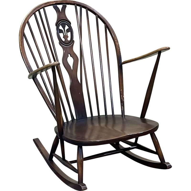 Vintage beechwood rocking chair for Ercol, 1970s