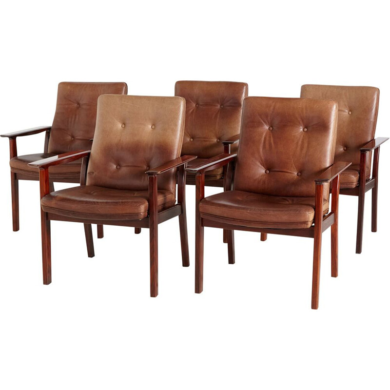 Set of 5 vintage rosewood and leather armchairs by Arne Vodder for Sibast, 1960s