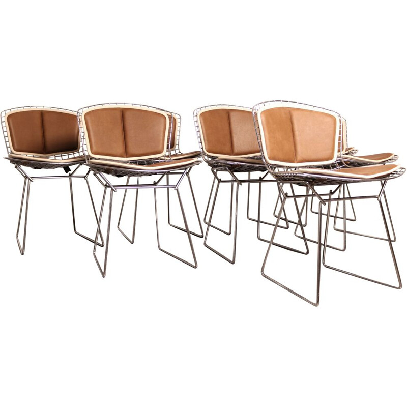 Set of 8 vintage chrome plated steel and leather dining chairs model 420 by H. Bertoia for Knoll, 1960s