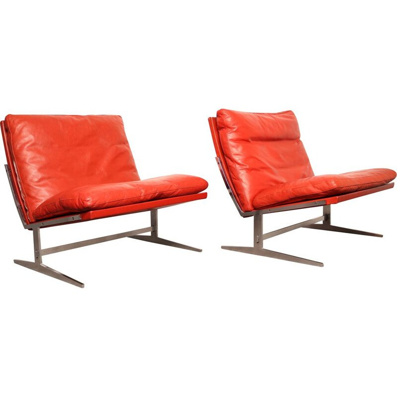Pair of vintage lounge chairs model BO-561 by P. Fabricius & J. Kastholm for BO-EX, Denmark 1963