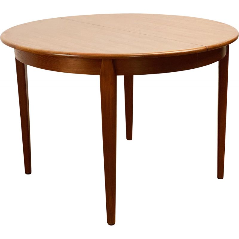 Round mid century teak extendable dining table by Sighs and Sons, Denmark 1960s
