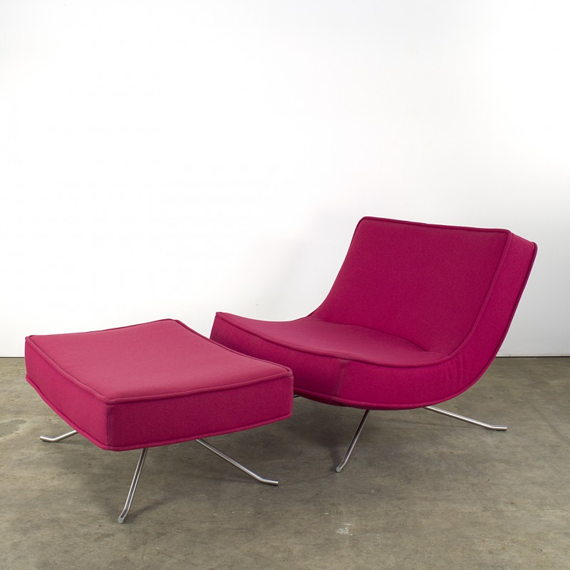 Pink Ligne Roset Pop Lounge Chair With Ottoman In Fabric - The-ottoman-from-ligne-roset