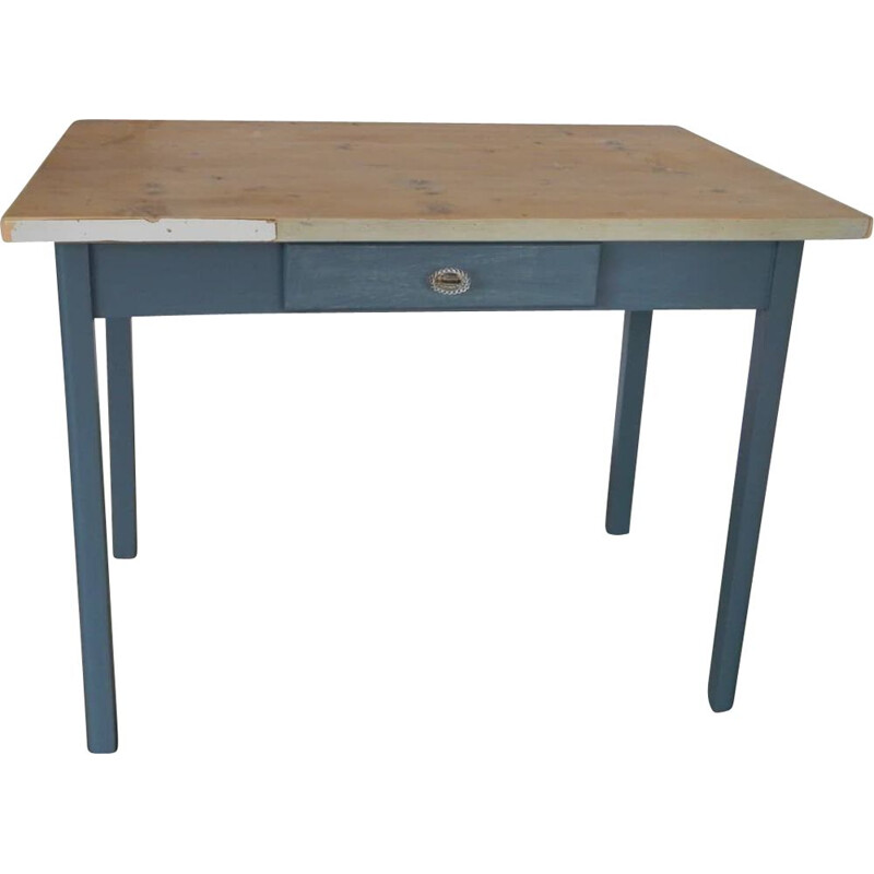 Mid century wood blue table with drawer