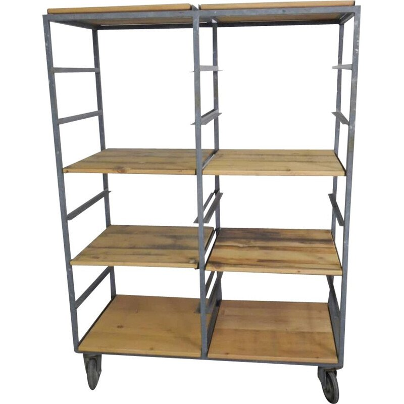 Fir wood vintage shelve with casters