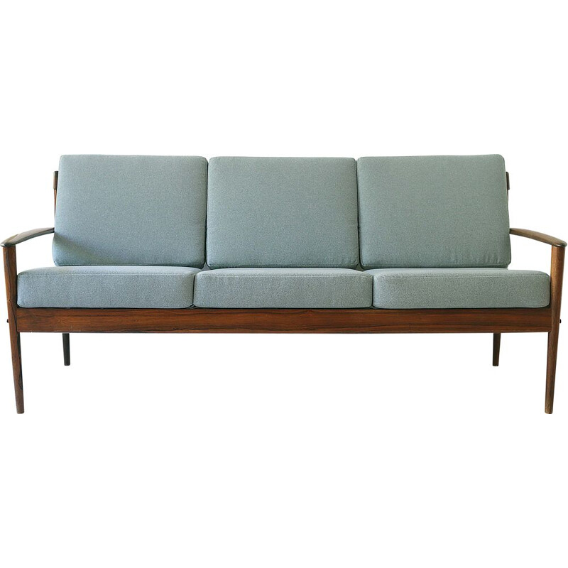 Vintage rosewood and fabric 3-seater sofa by Grete Jalk for Poul Jeppessens, Denmark 1960s