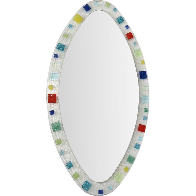 Murano glass oval vintage mirror Italian by Barovier & Toso, 1970s