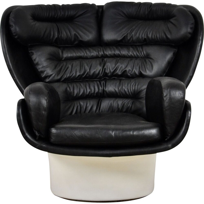 Vintage leather armchair by Joe Colombo for Comfort, Italy 1960s