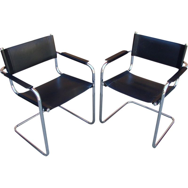 Pair of Bauhaus vintage armchairs, Italy 1970s
