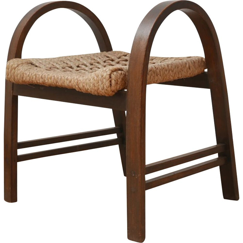 Bentwood and rope mid-century Stool by Audoux-Minet, France 1960s