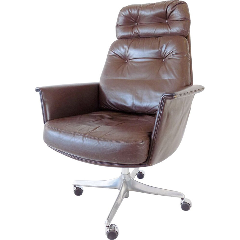 Cor Sedia brown leather vintage office armchair by Horst Brüning, 1960s