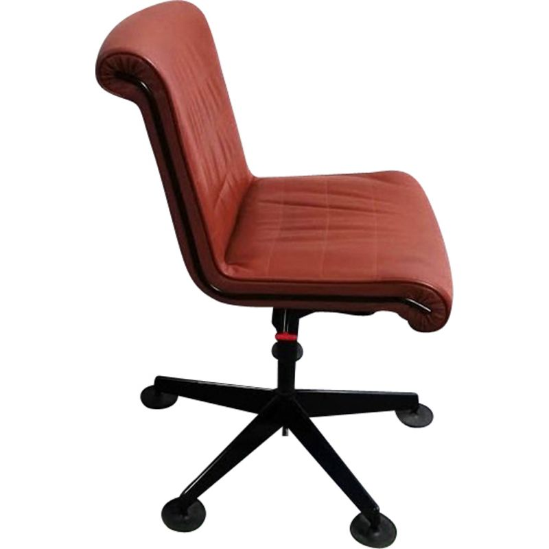 Vintage leather office chair by Sapper for Knoll