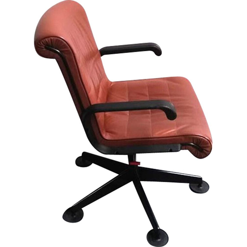 Vintage leather office chair with arms by Sapper for Knoll