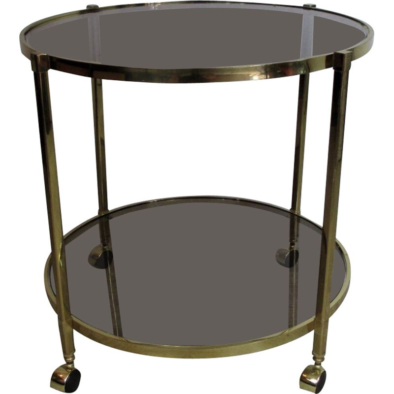 Mid century brass and glass trolley bar, Italy 1960s