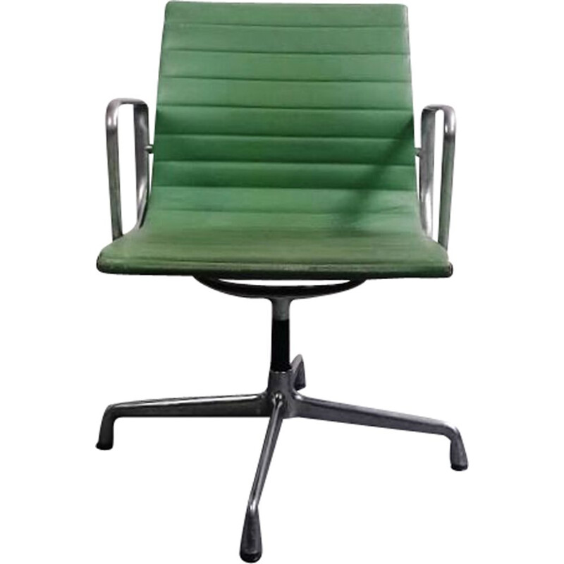 EA108 vintage armchair in leather and aluminium by Charles & Ray Eames for Vitra