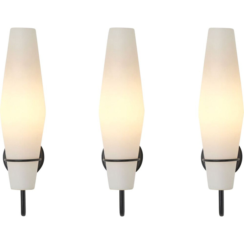 Set of 3 vintage wall lamps in opaline glass by Raak Amsterdam, Netherlands 1960s
