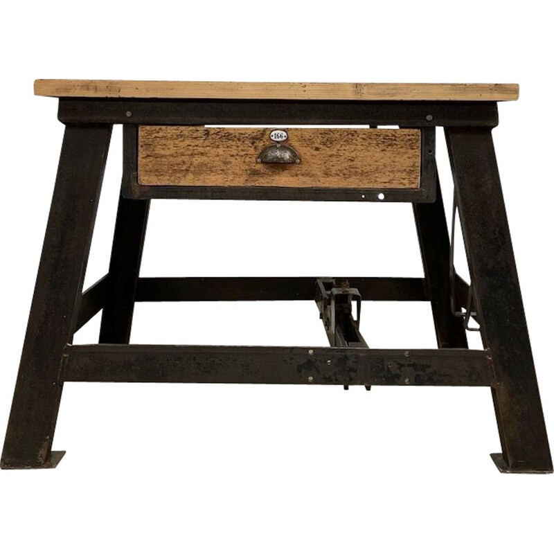 Industrial wood and metal side table