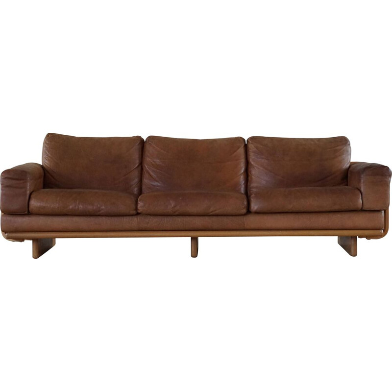 Mid century danish three sater sofa in leather and beechwood frame, 1960s