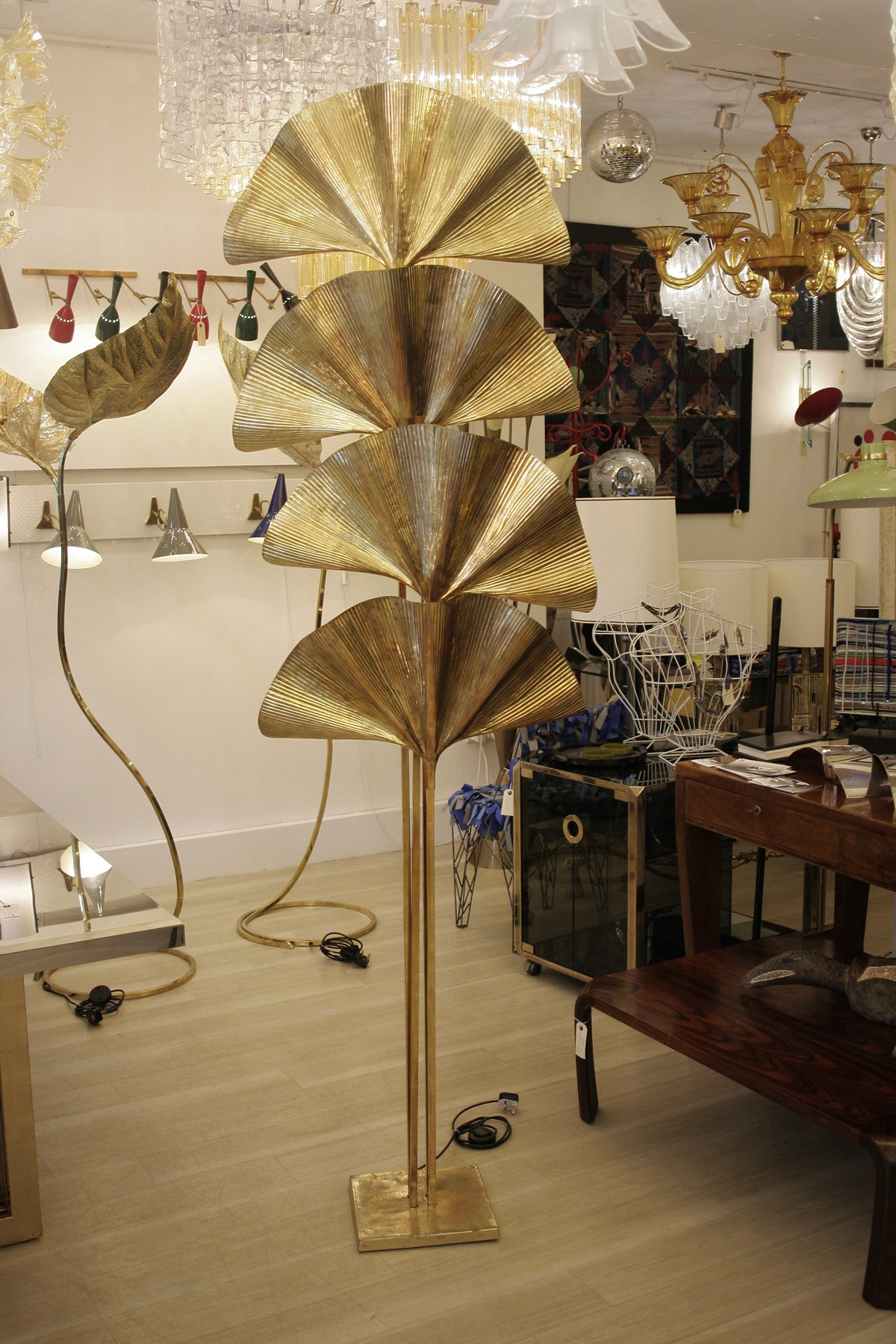 Brass Floorlamp Tommaso Barbi 1970s Design Market