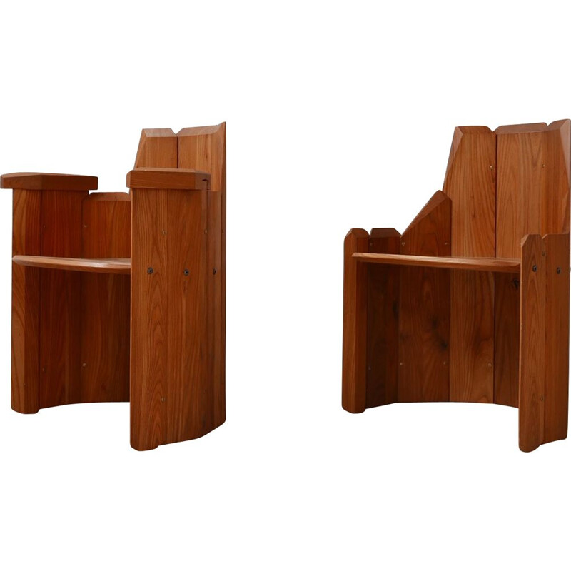 Pair of elmwood mid-century armchairs by Pierre Chapo, France 2009