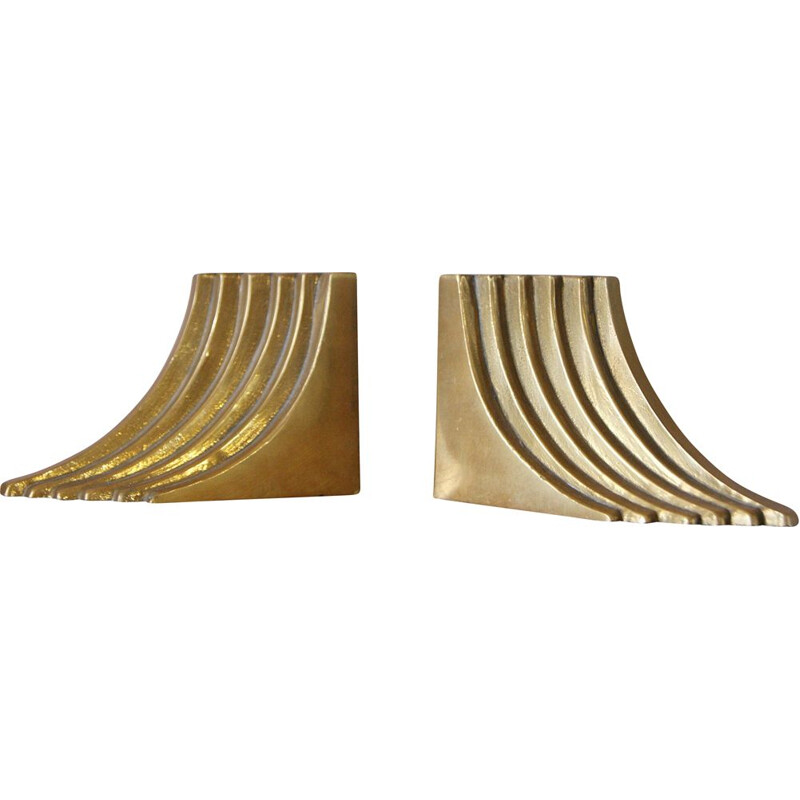 Pair of mid-century brass bookends, 1960s