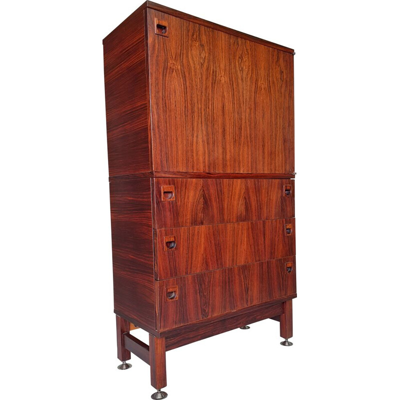 Vintage French rosewood storage cabinet by André Monpoix, 1950-1960s