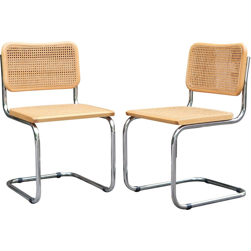 Pair of vintage beech and cane chairs S32 by Marcel Breuer