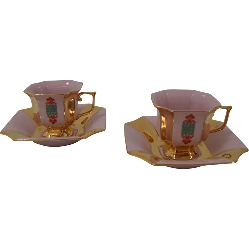 Pair of vintage cups and saucers by Haas & Czjzek, 1960