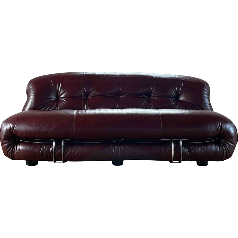 Vintage Soriana leather and metal sofa by Afra & Tobia Scarpa, Italy 1969