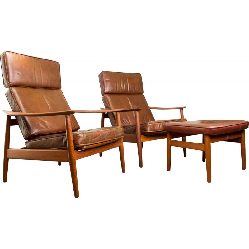 Pair of vintage lounge chairs and a ottoman model FD 164 by Arne Vodder for France & Son, Denmark 1960s