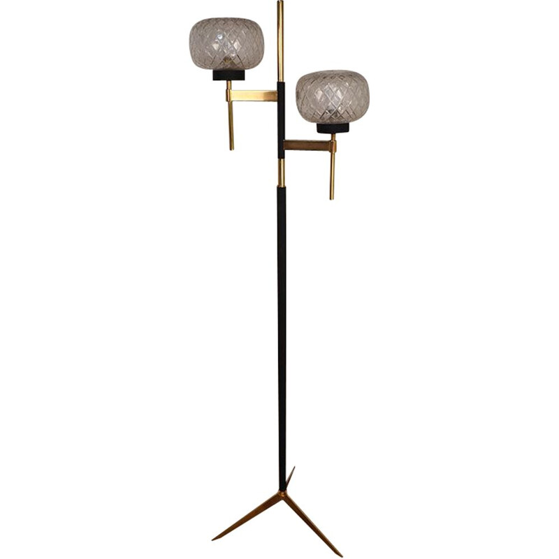 Vintage metal and brass floor lamp with double light, 1960s