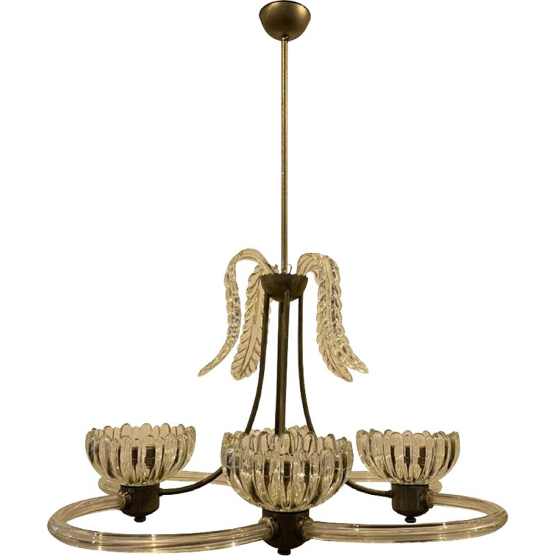 Vintage modern Murano glass chandelier by Barovier & Toso, 1950s
