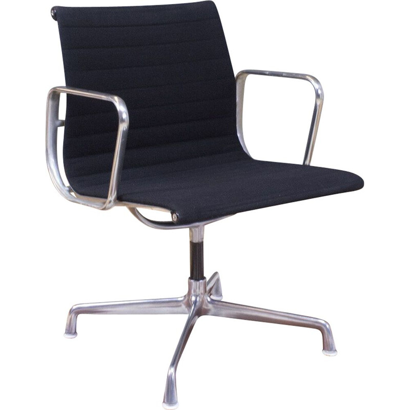 American vintage desk armchair EA107 in black and aluminium by Herman Miller for Ray Charles, 1958