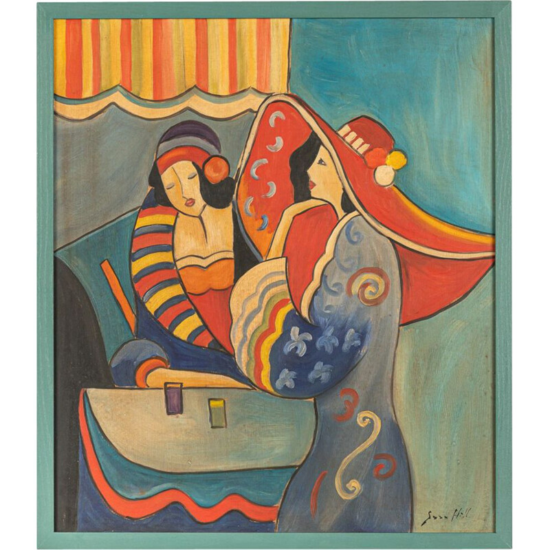 Mid century expressionist painting by Sara Hill, 1960s