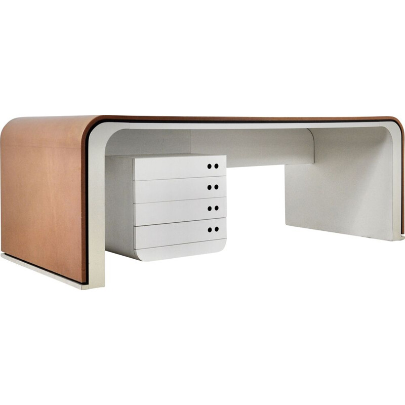Vintage desk in leather, aluminium and bakelite by Michel Boyer, 1970s
