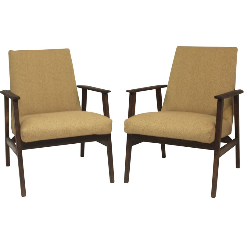 Pair of vintage armchairs by Henryk Lis for Bystrzyckie, 1970s