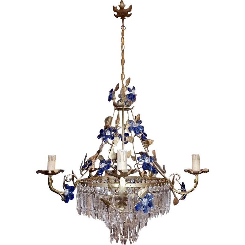Mid century crystal chandelier with Murano glass flowers, 1950
