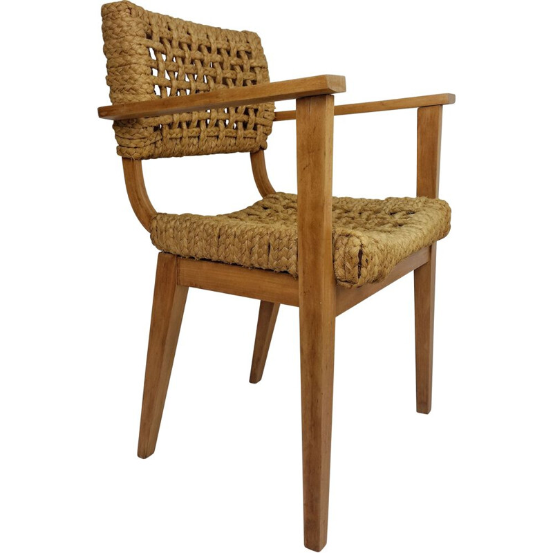 Vintage armchair in wood and rope by Audoux Minet, 1950