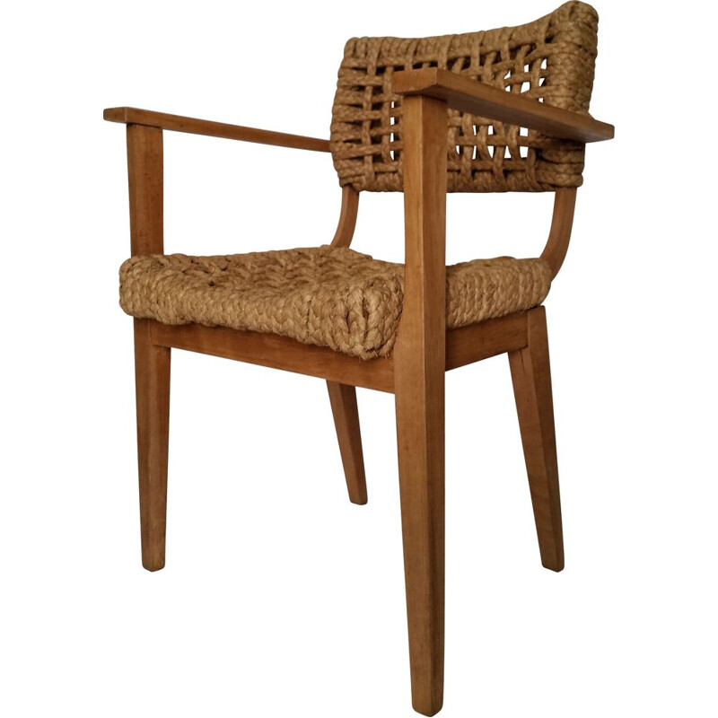 Vintage beechwood and rope armchair by Audoux Minet, 1950