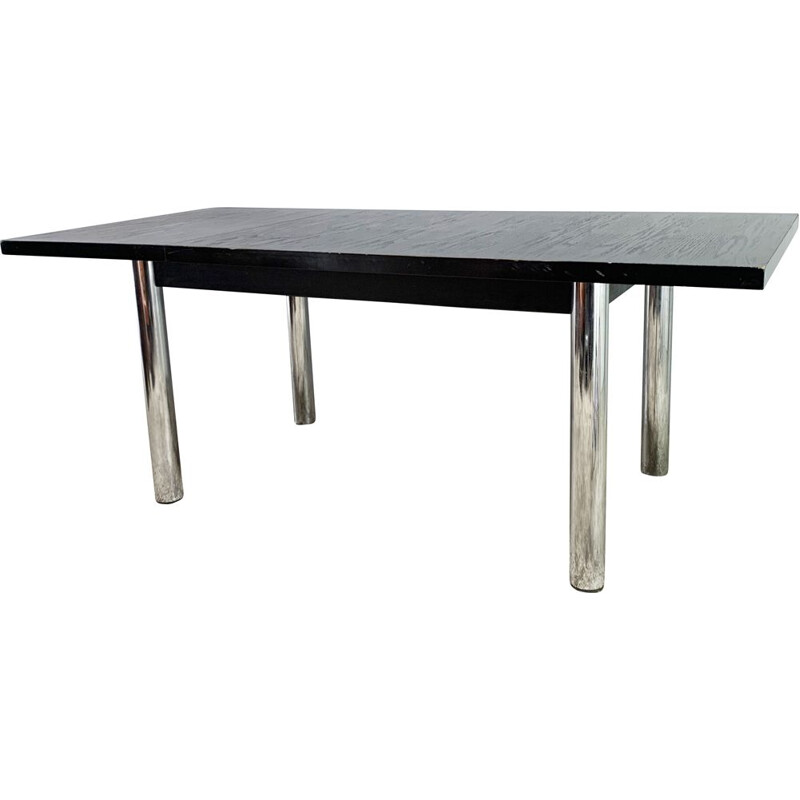 Mid century solid black ashwood extending dining table by Habitat, 1970s