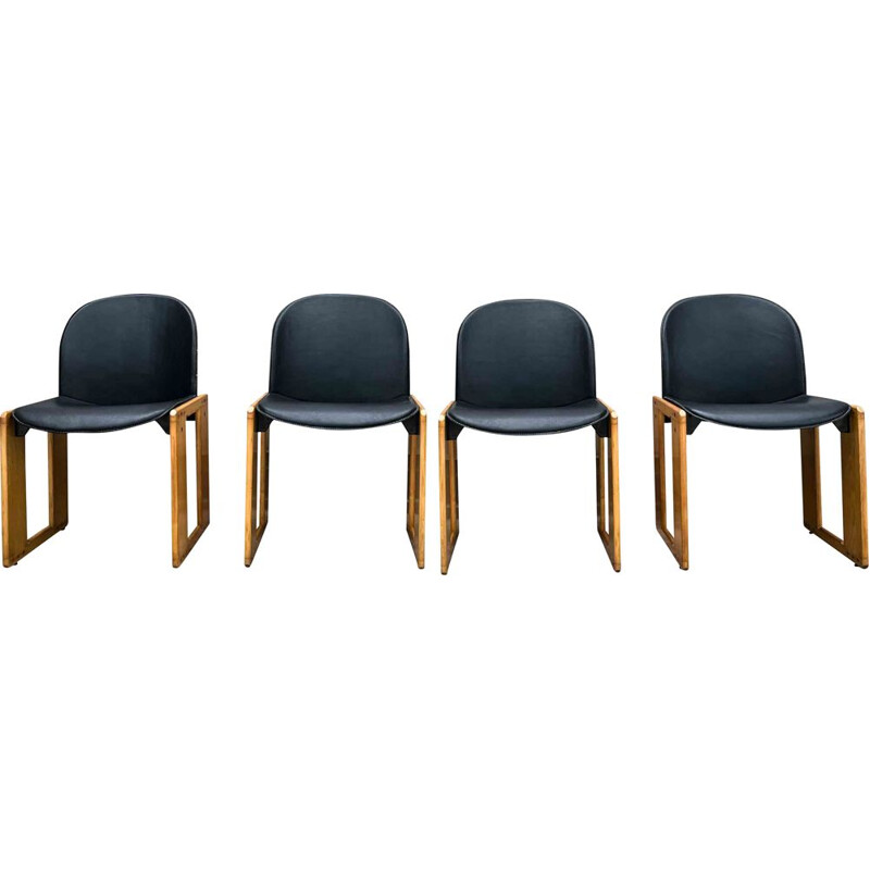 Set of 4 vintage black leather Dialogo chairs by Afra and Tobia Scarpa for B&B Italia, 1973