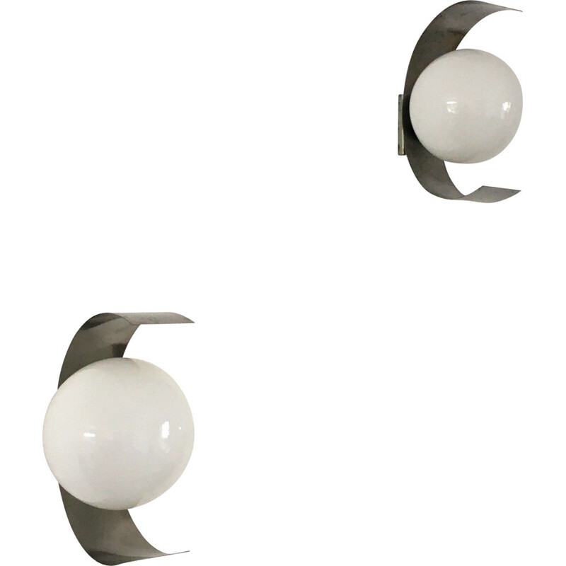 Pair of vintage stainless steel and white opal wall lamps, 1970