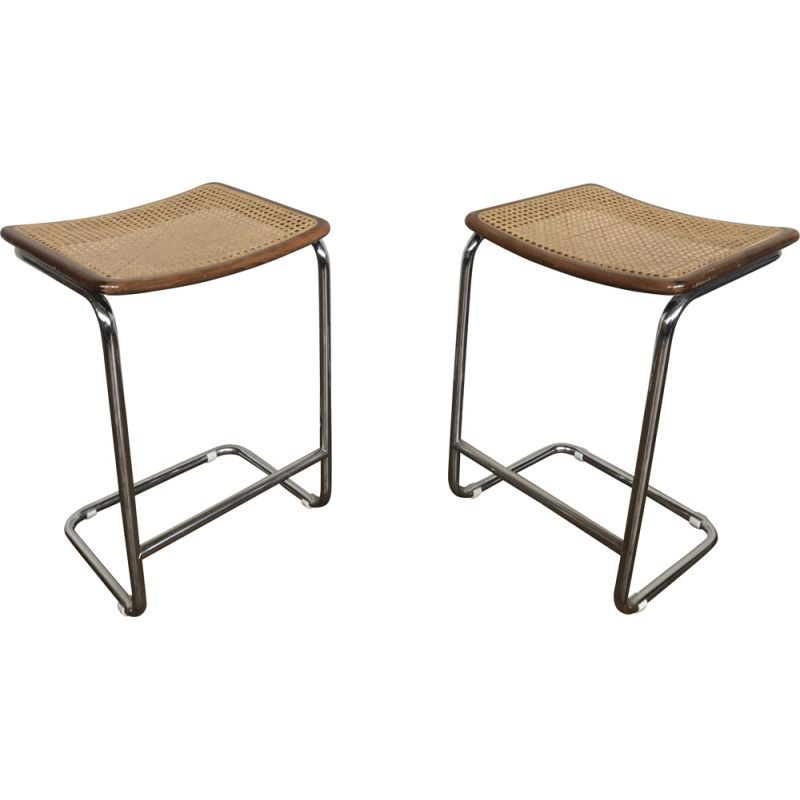 Pair of vintage cane stools by Marcel Breuer, Italy 1970