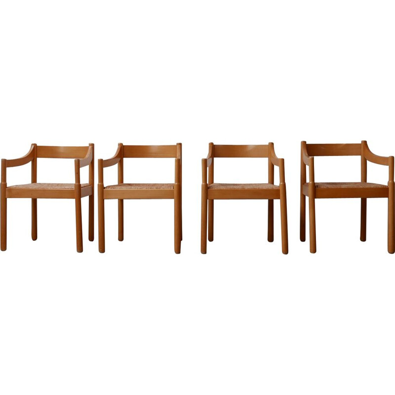 Set of 4 vintage Carimate armchairs by Vico Magisretti, Italy 1960